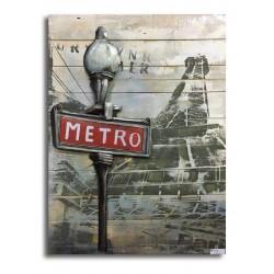 Tableau métal Métro 60x80 FOND BOIS EN RELIEF