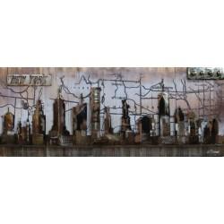 Tableau métal New York City 60x150 FOND BOIS EN RELIEF