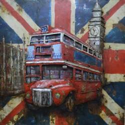 Tableau métal Bus anglais 60x60 EN 3 D