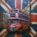 Tableau métal Bus anglais 60x60 EN RELIEF