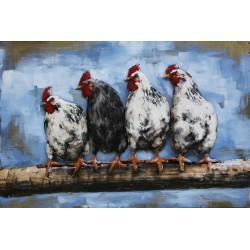 Tableau métal Les poules 50x75 EN RELIEF