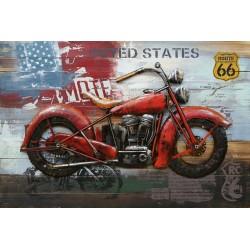 Tableau métal Harley rouge 80x120 EN 3 D