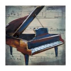 Tableau métal Piano 40x40 FOND BOIS EN RELIEF