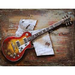 Tableau métal Guitare Les Paul 60X80 EN RELIEF