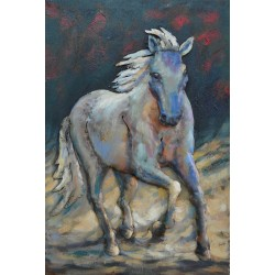 Tableau métal cheval blanc 40x60