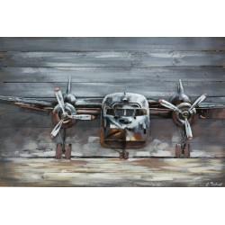 Tableau métal Avion à hélice 80x120 EN RELIEF