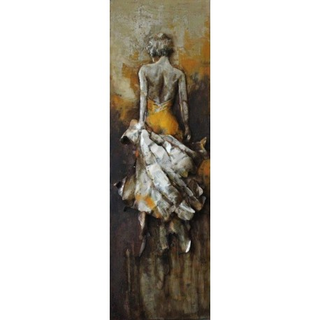Femme drapée jaune 56x180