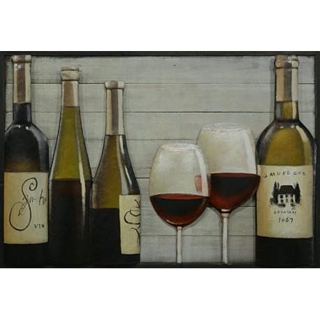 4 bouteilles + 2 verres 60x90