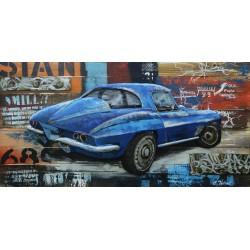 Tableau métal Corvette bleue 60x120 EN RELIEF