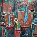 Tableau métal Swazi art africain 100x100 EN RELIEF