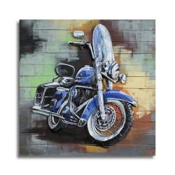 Tableau métal Harley 1200 electra glide 100x100 FOND BOIS EN RELIEF