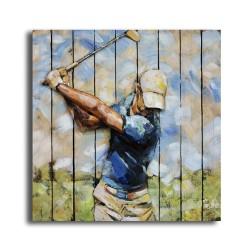 Tableau métal The Swing 80x80 FOND BOIS