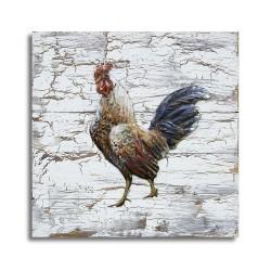Tableau métal Coq Barbarie 40x40 FOND BOIS