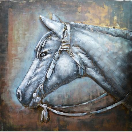 Tableau métal Tête de cheval 80x80