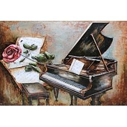Tableau métal Piano et la rose 80X120