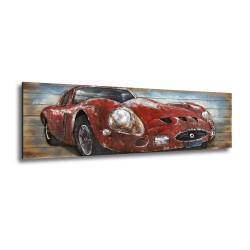 Tableau métal Ferrari rouge 60x180 FOND BOIS