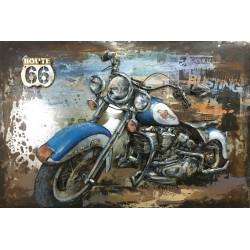 Tableau métal Harley bleue 80x120 EN 3 D