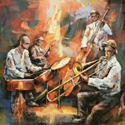 Tableau métal Jazz orchestra 100x100 EN 3 D