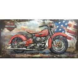 Tableau métal Harley rouge 70x140 EN 3 D