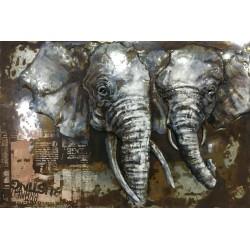 Tableau métal Elephants VW 80x120 EN 3 D