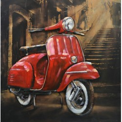 Tableau métal Scooter da Roma 60x60 EN RELIEF