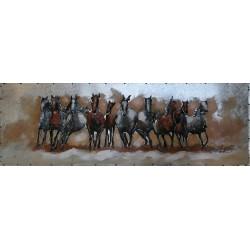 Tableau métal Chevaux sauvages 30x90 EN RELIEF