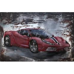 Tableau métal Ferrari 458 40x60 EN RELIEF