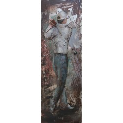 Tableau métal Golfeur 30X90 EN RELIEF