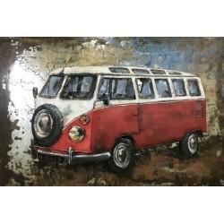 Tableau métal Combi VW rouge 40x60 EN RELIEF