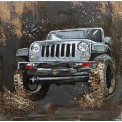 Tableau métal Jeep au Paris Dakar 60x60 EN RELIEF