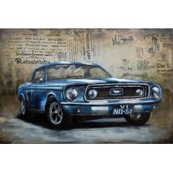 Tableau métal Mustang bleue 60x90 EN RELIEF