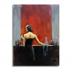 Tableau métal Lady at the bar at the bar 60x80 EN RELIEF