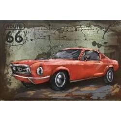 Tableau métal Mustang rouge 40x60 EN RELIEF