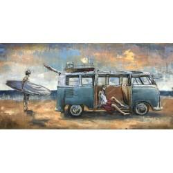 Tableau métal Partir surfer en VW 70x140 EN 3 D