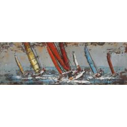 Tableau métal Voiliers en Méditerrannée 56X180
