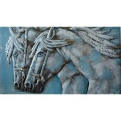 Tableau métal Couple de chevaux 80x120 EN RELIEF