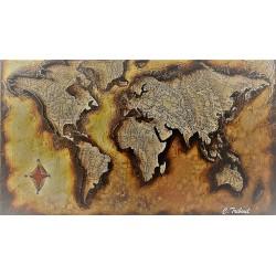 Tableau métal Carte du monde 40x60 EN RELIEF