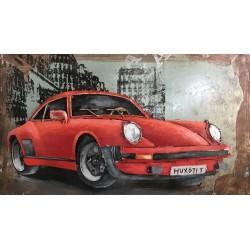 Tableau métal Porsche rouge 40x60 EN RELIEF