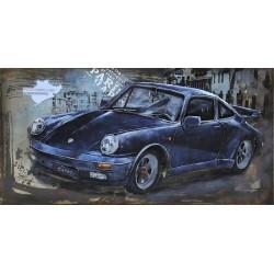 Tableau métal Porsche bleue 911 40x60 EN RELIEF