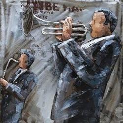 Tableau métal Jazz Dizzy 60x60 EN RELIEF