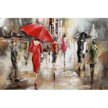 Foule et parapluies 56x180