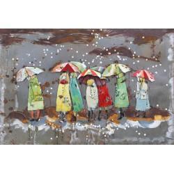 Tableau métal Parapluies Cherboug sous la neige 40x60