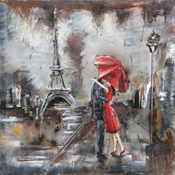 Tableau métal La tour Eiffel des amoureux 60x60