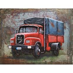 Tableau métal Camion rouge baché 60x80 EN RELIEF