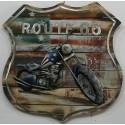 Tableau métal Médaillon moto 60x60 FOND BOIS