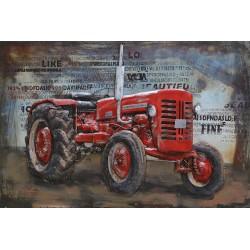 Tableau métal Tracteur rouge 40X60 EN 3 D