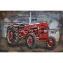 Tableau métal Tracteur rouge 40x60