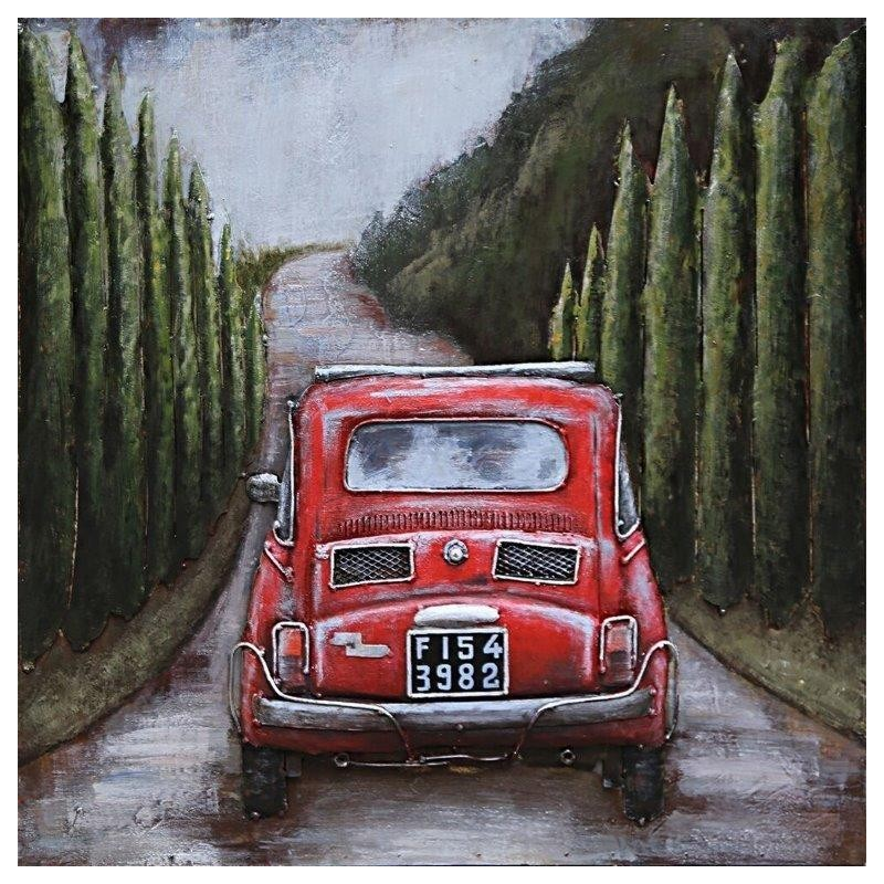 Ma fiat 500 60x60 metal art eurodecor for Decoration murale fiat 500