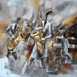 Tableau métal Saxo concerto 60x60 EN RELIEF