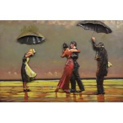 Tableau métal Tango sous la pluie 80x120 EN RELIEF